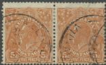 SG 130 ACSC 127(3)i. KGV Head 5d Orange-Brown pair (AHSUP/1241)